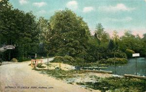 Norwich Connecticut~Lincoln Park~Entrance Sign on Tree~Wood Rails~1910 Postcard