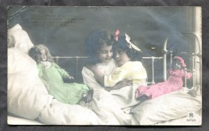 dc372 - GIRLS with DOLLS 1912 Real Photo Postcard