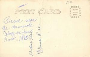 Real Photo Post Card~Arthur J & Oliver Lee~Picnic Near Mennonites~Jim River~1913