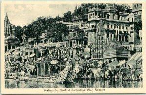 Vintage VARANASI India Postcard Maharajah's Boat at Mankarinka Ghat, BENARES