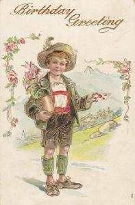 BIRTHDAY Greeting, Boy holding potted plant & sealed envelope, Gold detail, 1910