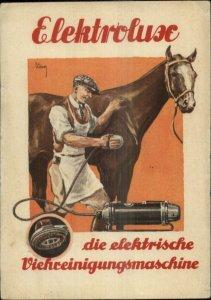 German Elektroluse Horse Brushing Cleaning Machine Poster Art Postcard xst