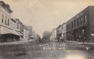 Monona Iowa~Boy in Middle Center Street~Shopkeeper~Dentist~Barber Pool~1908 RPPC