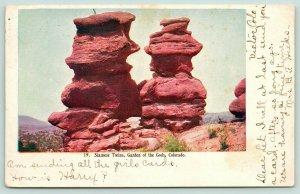 Garden of the Gods Colorado~Siamese Twins~Barren Ground Around~1907 Embossed