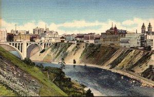 Washington Spokane Skyline and Business Section Showing Spokane River Curteich