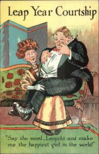 August Hutaf Leap Year - Fat Man on Woman's Lap 1908 Postcard bck