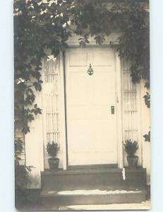 Pre-1930 rppc abstract REAL PHOTO OF FRONT DOOR & KNOCKER - ARCHITECTURE HM0293