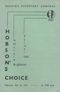 Hobsons Choice Reading Berkshire Old Brighouse Hall Theatre Programme
