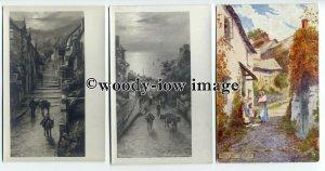 ar0442 - Clovelly , Devon - Artist - 3  postcards