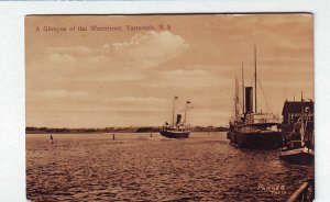 P1316 old used postcard ships the waterfront dock yarmouth n.s. canada
