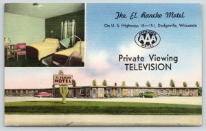Dodgeville Wisconsin~El Rancho Motel~Inside Out~Twin Beds & Desk~1950 Linen PC