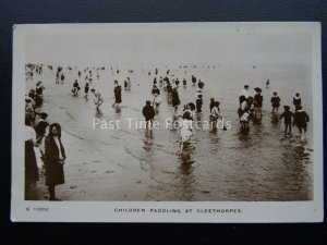 Lincolnshire CLEETHORPES Children Paddling c1913 RP Postcard by Kingsway S11002