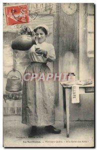 Old Postcard Folklore Sarthoise Mistress Queru A health friends!