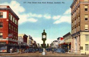 Florida Sanford First Street From Park Avenue Curteich