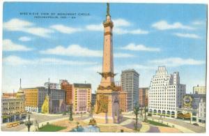 USA, Bird´s Eye View of Monument Circle, Indianapolis, Indiana, unused Postcard