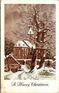 Vtg Post Card A Merry Christmas Church Scene VINTAGE - PC POSTCARD