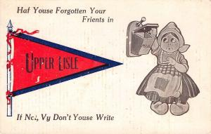Haf Youse Forgotten Your Friends in Upper Lisle NY~Empty Mailbox~1912 Pennant