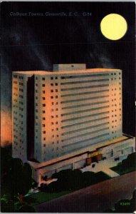 Greenville SC Calhoun Towers Postcard unused 1930s/40s