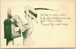 1912 Artist-Signed BERNHARDT WALL Postcard Girl / Mail Box Love Letter Valentine