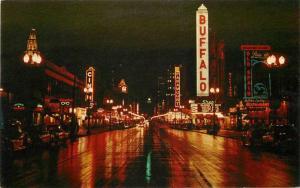 Autos 1950s Night Neon Theater Marquee Teich Gunzburger Buffalo New York 1090