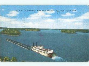 Linen RIVER SCENE Burlington Iowa IA AE6343
