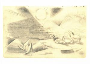 Postcard Art Sketchbook from the field (1915) by Franz Marc MU1968 #916