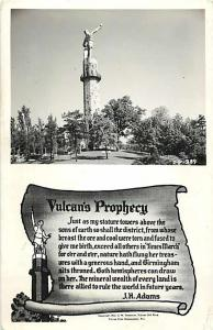 RPPC of Vulcan's Monument and Prophecy by J.H. Adams Birmingham AL