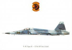 Postcard F-5E Tiger II 527th TFTAS, USAF, US Air Force Profile Card
