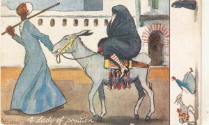 Lance Tackeray. A Lady of position Tuck Oilette Humour in Egypt Ser. PC # 9547