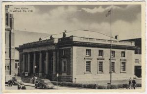 Bradford PA Post Office Building Flag Bicycle Old Autos Postcard