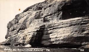 CANADA Postcard Real Photo RPPC c1920 BONAVENTURE ISLAND Rock CLiff BIRDS 119