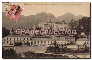Postcard Menton Old Station View the Hotels and Sainte Agnes Mountains