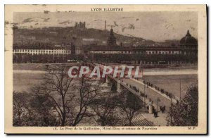 Postcard Old Lyon Illustrates The Bridge Hotel Guillotiere God and hill Fourv...