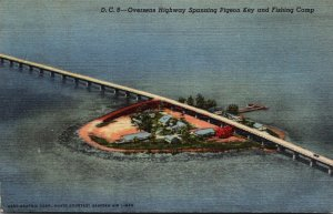 Florifa Keys Overseas Highway Spanning Pigeon Key and Fishing Camp 1949 Curteich