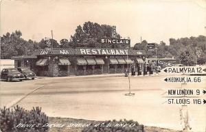 Hannibal MO Renie's Sinclair Service Station Gas Pumps Restaurant RP Postcard
