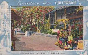 Greetings From California Blue Border Los Angeles The Avila Adobe Olvera Stre...