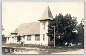 Broken Bow Nebraska~Methodist Episcopal ME Church~Lamp Post~c1912 RPPC