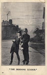 Police Policeman The Morning Leader Drunk Man Cant Stand Up Old Comic Postcard