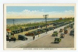 Postcard Ocean Avenue Looking South Hampton Beach N. H. Cars Standard View Card