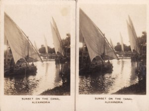Sunset On The Alexandria River Canal Australia 2x Old Cigarette Card s