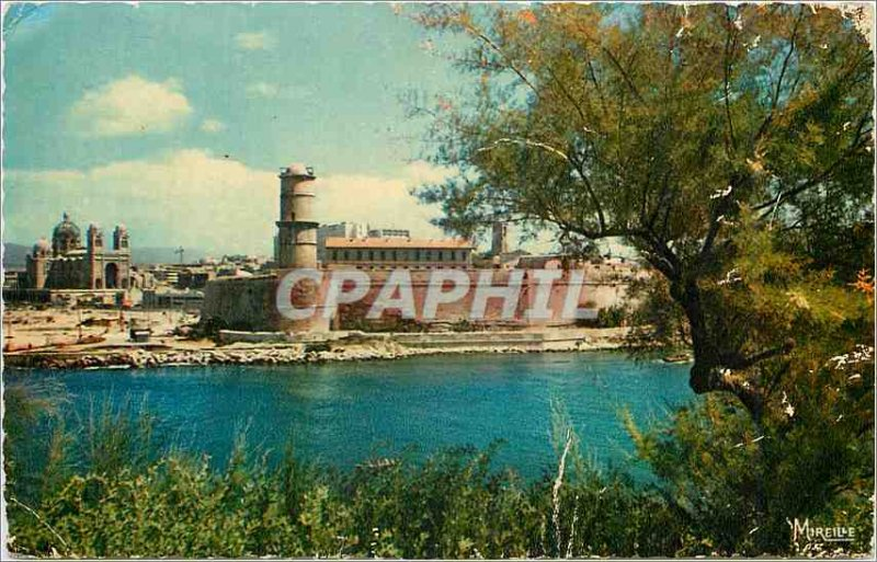 Modern Postcard Marseille The Cathedral and Fort Saint John saw the Pharo Gar...