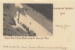 RP, BANFF , Alberta, 1928 ; Snow Trail, Sunset Pass , Pack Train