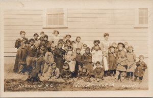 Indian & Caucasian Children School ?? Northern BC WWW Wrathall RPPC Postcard E77