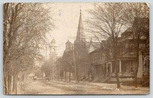 Newport Pennsylvania~Main Residential Street~Homes~Churches~Wagons~1909 RPPC