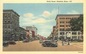 Autos 1940s North Street PITTSFIELD MASSACHUSETTS Hughes Teich postcard 3913