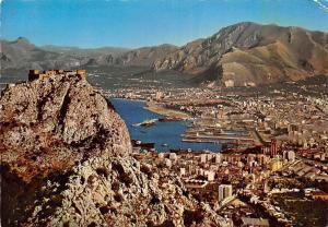 Italy Palermo Panorama and Utveggio Castle Harbour Ship Boats Port