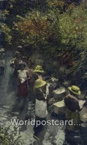 Republic of Panama, República de Panamá Native Indian Women Washing Clothes...