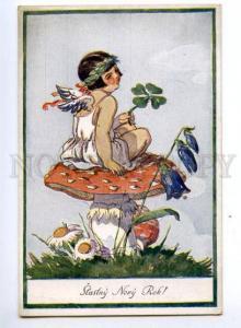 148579 NEW YEAR Winged ANGEL MUSHROOM by FISCHEROVA vintage