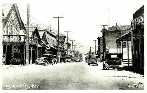 Virginia City, Nevada, Street Scene, Cars (1950s) RPPC Postcard