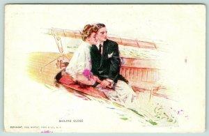 Howard Chandler Christy~Sailing Close~Lovely Lady~Elegant Gent in Sail Boat~1908